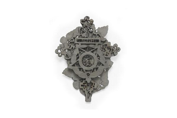 Actum, brooch, silver, oak veneer. Layers of lasercut veneer.