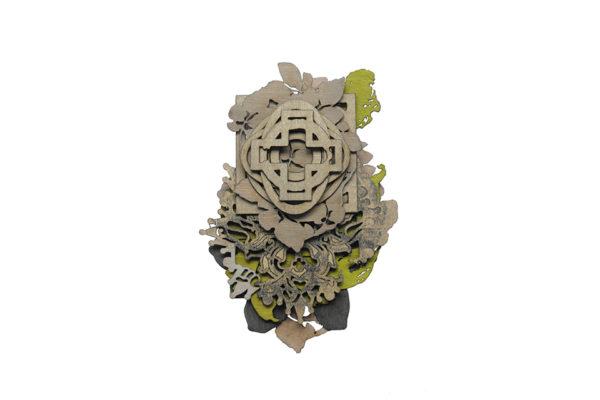 Corsage II, brooch, silver, paint, grafite, oak veneer. 115 x 85 x 22 mm.