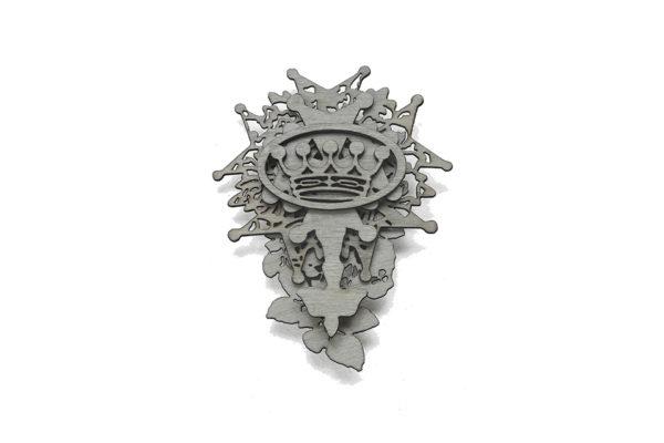 Virtus, brooch, silver, oak veneer. Layers of lasercut veneer.