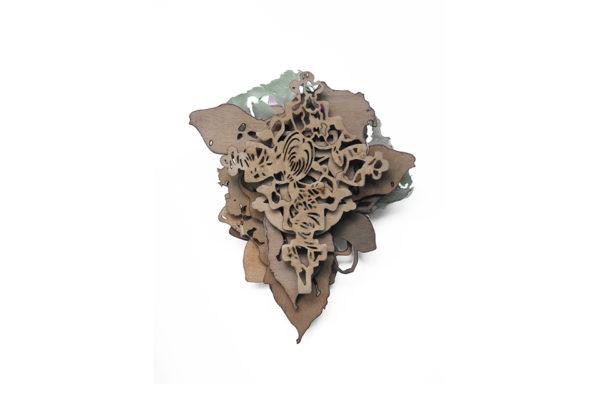 turning turmoil, brooch, silver, plastic. oak veneer. ca. 105 x 85 x 18 mm.