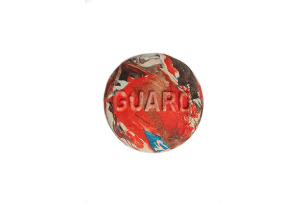 GUARD, button made from pressed plastic bags
