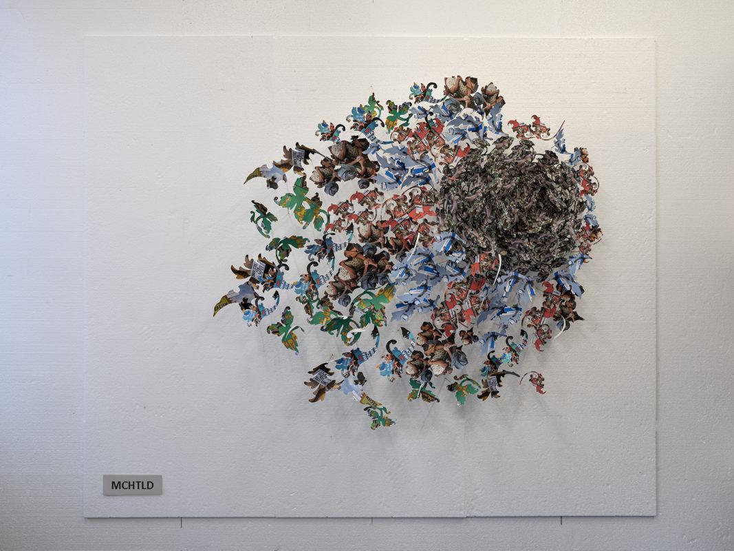 perpetuum mobile, 3d papiercollage, print op papier, tape, hout, 190 x 200cm
